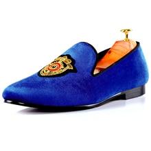Harpelunde мужские лоферы вышивка бархатные Тапочки синие туфли на плоской подошве размеры 7–14