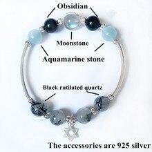 Natural Stone Bracelet For Wealth Bangle Bracelets Women Jewelry Black Rutilated Quartz Moonstone Six-star