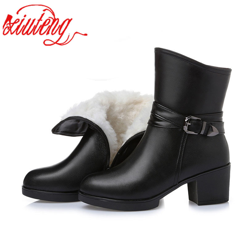 Xiuteng High Quality Genuine Leather Ankle Boots Women Elegant Metal High Heels Shoes Woman Platform Winter