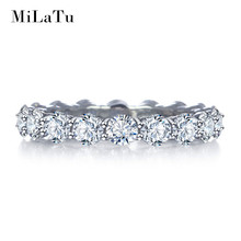 MiLaTu Luxury Wedding Rings For Women 100% Real 925 Sterling Silver Cubic Zirconia Ring Best Jewelry Gift 2016 R002S