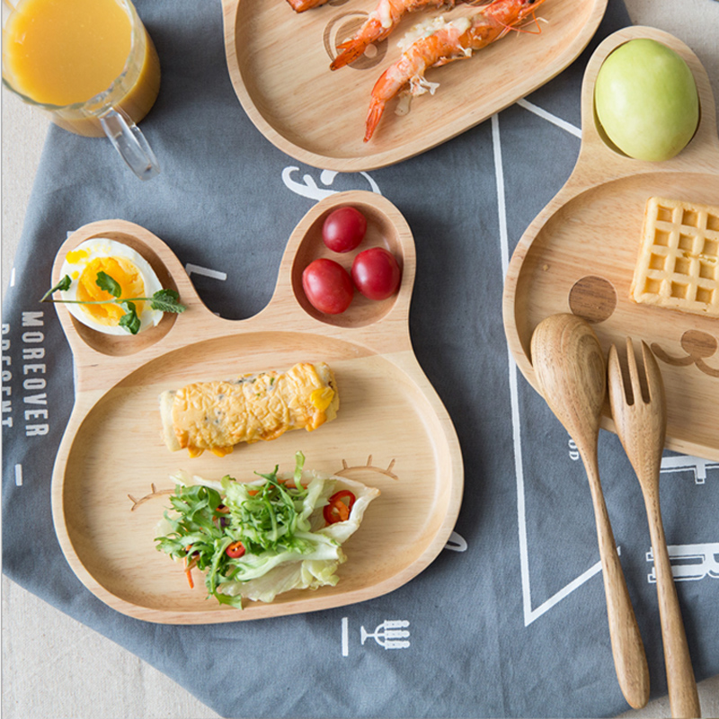 Wooden Platter Rabbit Food Dish Kids Toddler Feeding Plate Dinner Tray Tableware