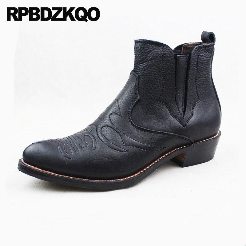 Noir Hommes de Chaussures Chunky Western Cheville Plus La Taille Bottes Chaussons Pleine fleur En Cuir Slip Sur Cowgirl Cowboy Réel Pointu bout Piste