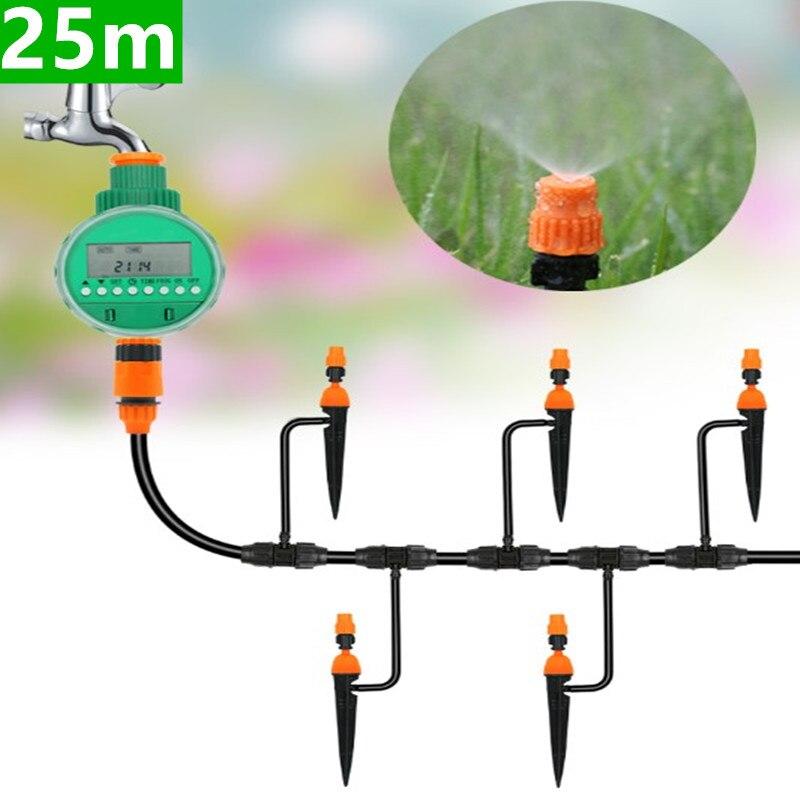 25m Misting Sprinkler Dripper With Water Timer DIY Micro Drip Irrigation Plant Self Watering Garden Water