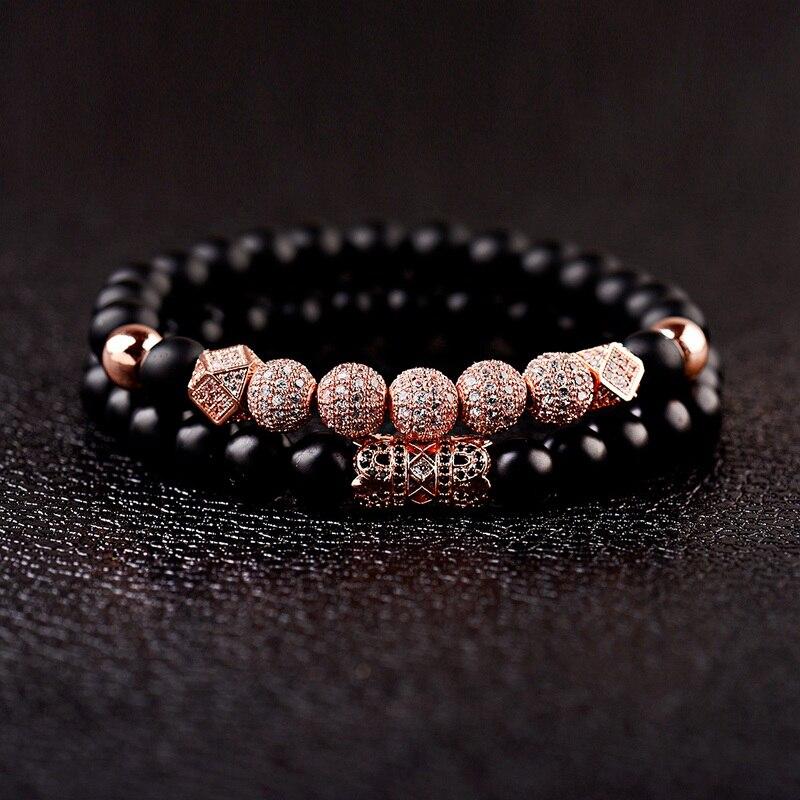 7 Pieces Silver Zircon Balls Hand-Woven 8MM Matte Lava Beads Bracelet USA