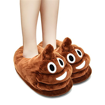 Best Fun Cute Cartoon Emoji Poop shaped plush emoji Slippers mens Funny Household girl kids stuff Children's Day Gifts present 1