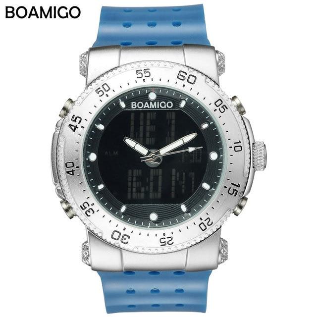 men sports watch Dual display Quartz Digital LED Watches men's military gift waterproof clock BOAMIGO brand rubber wristwatches