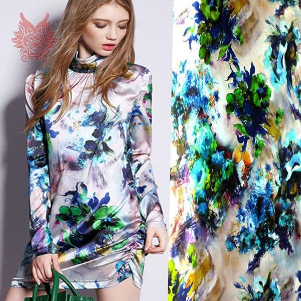 Designer Floral Hand Printed Spandex Silk Fabric For Dress Stretch