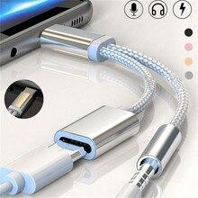 Тип C адаптер зарядное устройство аудио кабель 2 в 1 Зарядка до 3,5 мм разъем для наушников USB C конвертер для Xiaomi 6 samsung huawei