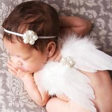 Asas Da Pena do anjo Do Bebê pérola Menina Hairband Headband Do Cabelo Bandas de Cabeça Acessórios de Sessão de Fotos para Recém-nascidos Fotografia Props