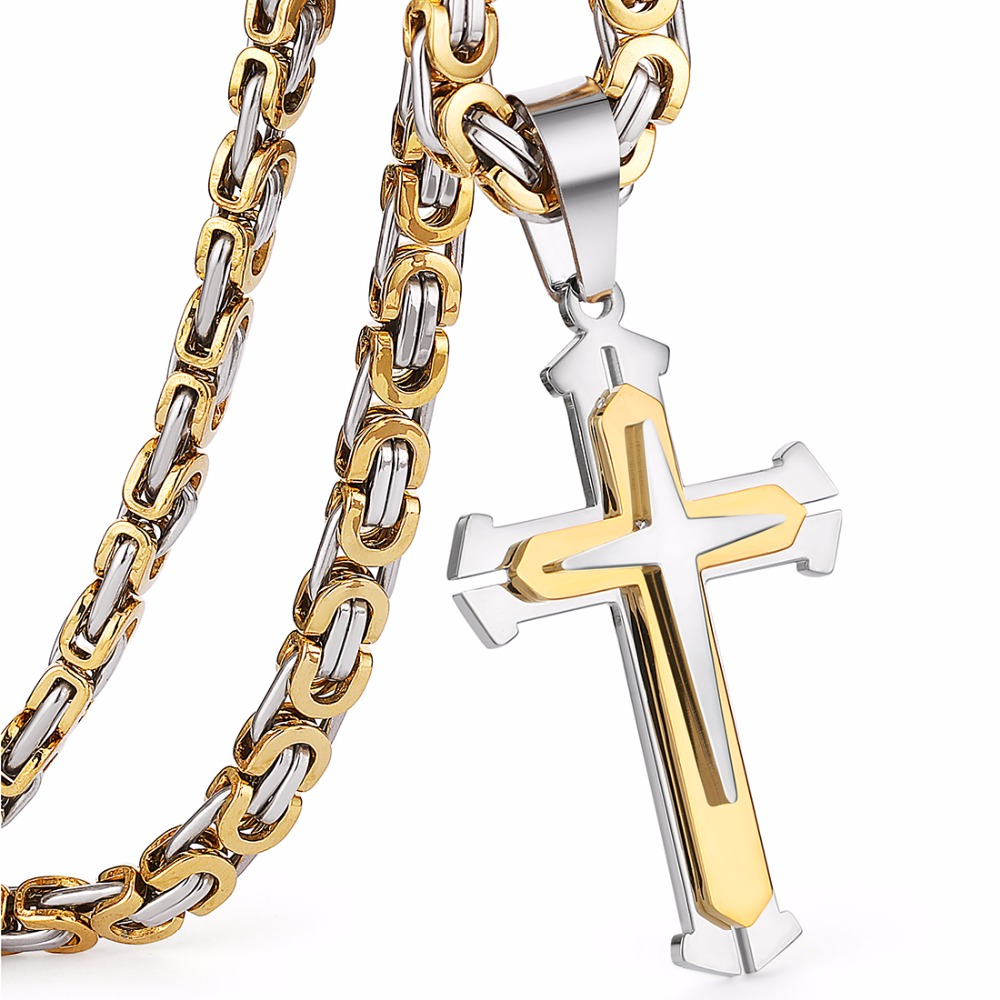 c66c22df849af US $11.33 19% OFF|Stainless Steel Pendant Necklace 3 Layers Knight Cross  Gold Silver Tone Strong Byzantine Chain Mens Fashion Jewelry Fathers  Gift-in ...