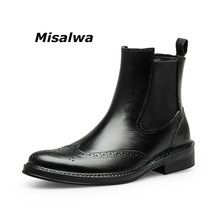 Misalwa Vintage Mens Fashion Carved Chelsea Boots Black Slip On Italian Brogue Dress High Help Ankle Male Botine Dropship