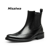 Misalwa Vintage Mens Chelsea Boots Carved Brogue Oxford Boots Leather Men's Wing Tip Formal Dress Short Ankle Boots Dropshipping