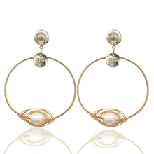 Earrings ladies fashion exaggerated new brand natural pearls Brincos earrings ears Pendientes accessories Christmas gifts