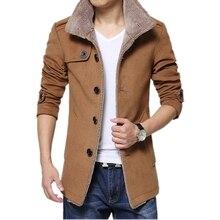 Шерстяные пальто Бизнес Мужчины Повседневная Теплые Пальто Хорошее Качество Однобортный Дизайн Сгущает Человек Мода Шерсти Одежда Гент Жизни