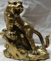 "JP S62 14 ""China Chinese Folk Fengshui Latão animal Do Zodíaco Do Ano Do Tigre escultura Estátua|sculpture craft|sculpture outdoor|sculpture shadow -"