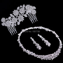 Silver Crystal Wedding Bridal Bridesmaid Jewelry Sets Alloy Necklace Earrings Crown Jewelrys For Women Hot Sale