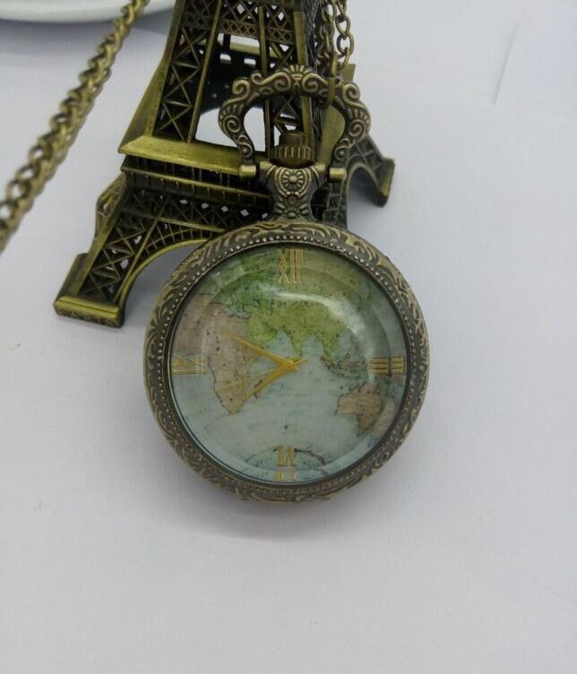 vintage Transparente Tampa de vidro relógio de bolso Colar relógios PO880