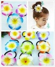 50 New mixed color Foam Hawaiian Plumeria flower Frangipani Flower bridal hair bands  elastic 6cm