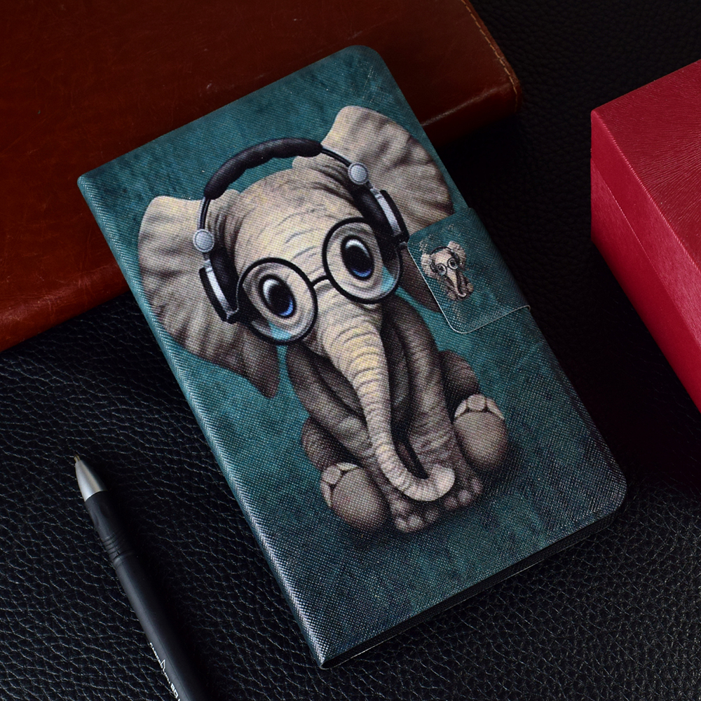 Baby Elephant Patterned Stand Flip PU Leather Cover For Huawei Mediapad T3