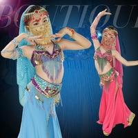 Girls Belly Dance 3Pcs set green/ orange (bra+skirt+belt) children good Professional bead tassel indian/egypt dance costumes