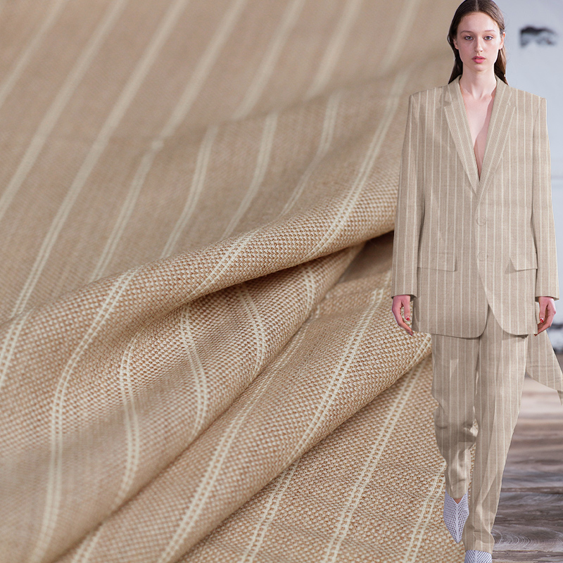 Pearlsilk Japanese Linen Knitted Craft Stripe Worsted 100%Wool materials Spring Pants Jacket DIY clothes fabrics Freeshipping
