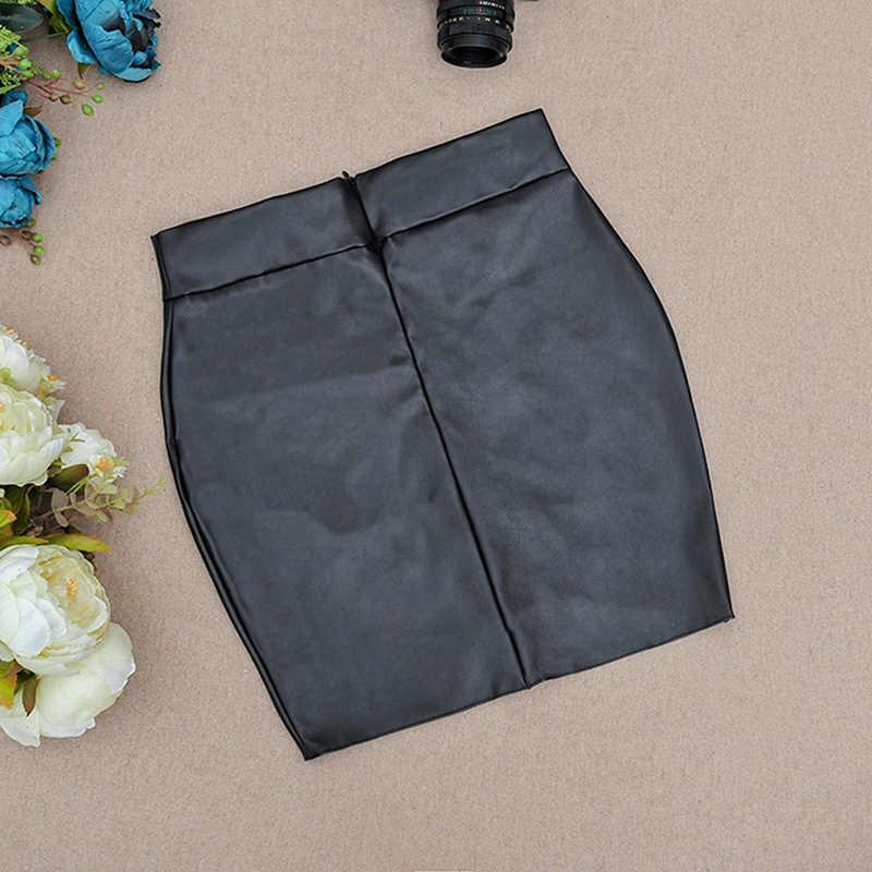 Sexy Women Bodycon Skirt Top Quality PU Leather Skirt Ladies Mini Short Skirt Side Split Zip Skirt Black Sexy KH820070
