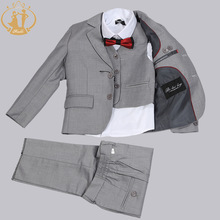 Nimble Brand New Formal Solid Boy Suits Set 3 stycken + Jacka + Pant + Vest