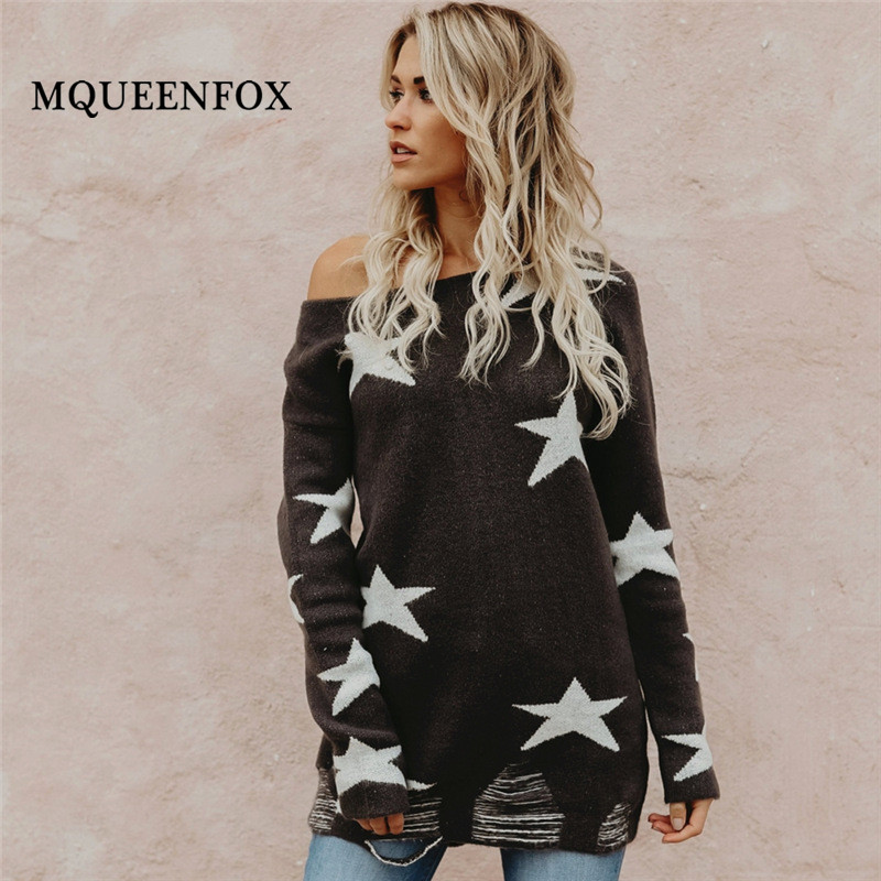 2019 New Fashion Star Knitted Sweater Winter Soft Warm Black Pullover Female Casual Loose Women Sweater Long Sleeve Jumper