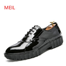 2018 Patent Leather Black Formal Shoes Men Office Business Boss Oxford Shoes for Men Pointed Toe Mens Wedding Party Dress Shoes