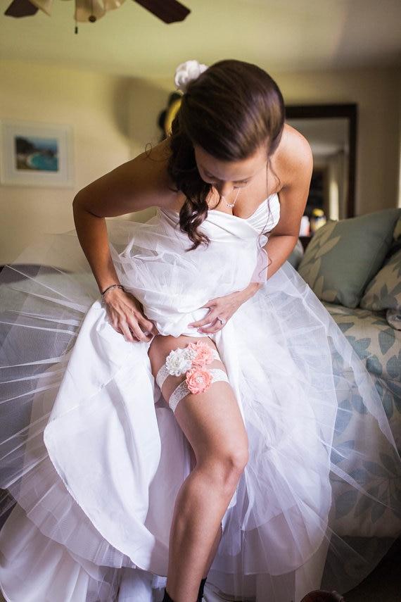 Wedding Garter Bridal Garter Ivory Lace Keepsake Toss Shabby Chiffon Rosette Ivory Plum Wedding Garte