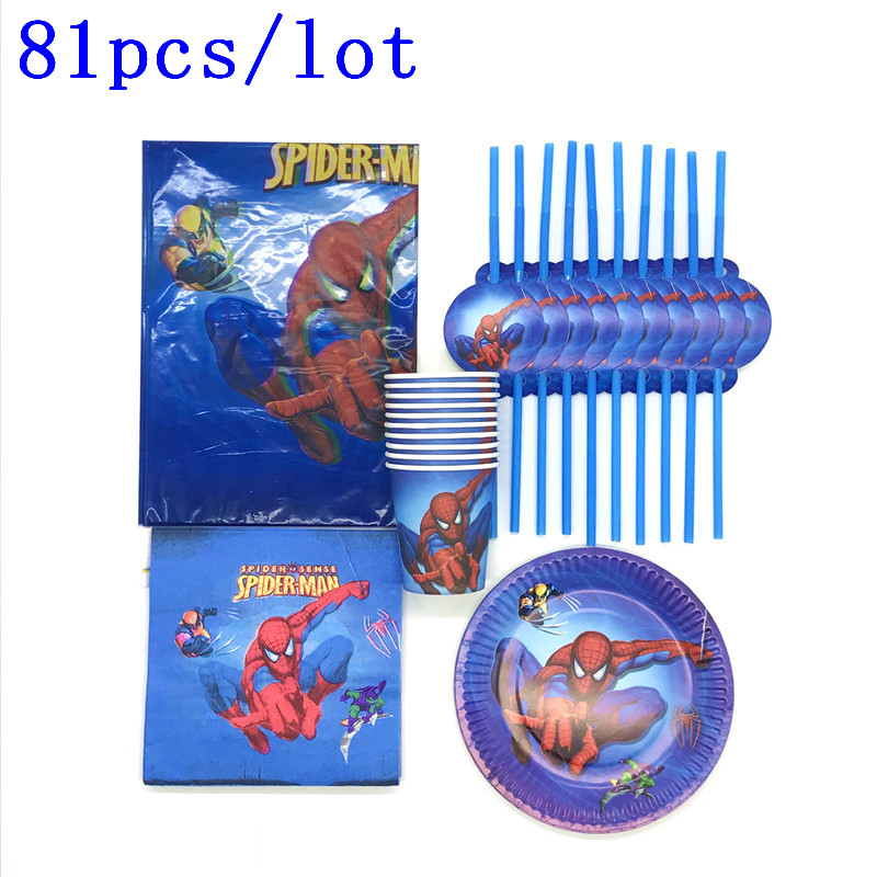 Spiderman Birthday Party Decorations Disposable Paper Cups Napkins Tablecloth Disposable Tableware Sets Kids Party SuppliesSpiderman Birthday Party Decorations Disposable Paper Cups Napkins Tablecloth Disposable Tableware Sets Kids Party Supplies