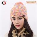 Doble Cara Con Puño Bola Top Bola Top Invierno Gorro de lana Sombrero Del Invierno De Punto Establecido
