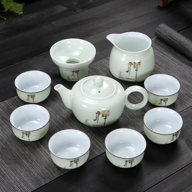 Chinese Kung Fu Tea Set White Porcelain Teaware Set Chinese Traditions Gai Wan Tea Cup Bone China Tea Sets Gaiwan Pot Set Gift