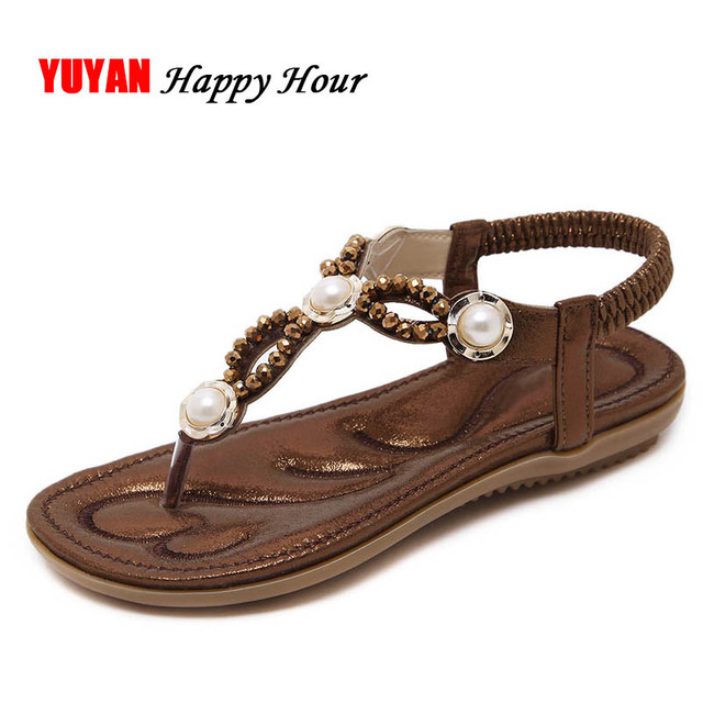 b581db40f0b9a0 New 2018 Sandals Women Summer Shoes Flat Heel Beach Sandals Flip Flop  Women s Sandals Ladies Pearl Rhinestone Brand Shoes ZH2569