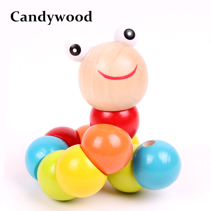 Candywood 1 pcs Funny colorful Insects Twist Caterpillars Blocks educational toys baby finger dexterity exercises toys for baby tri fidget hand spinner triangle metal finger focus toy adhd autism kids adult toys finger spinner toys gags