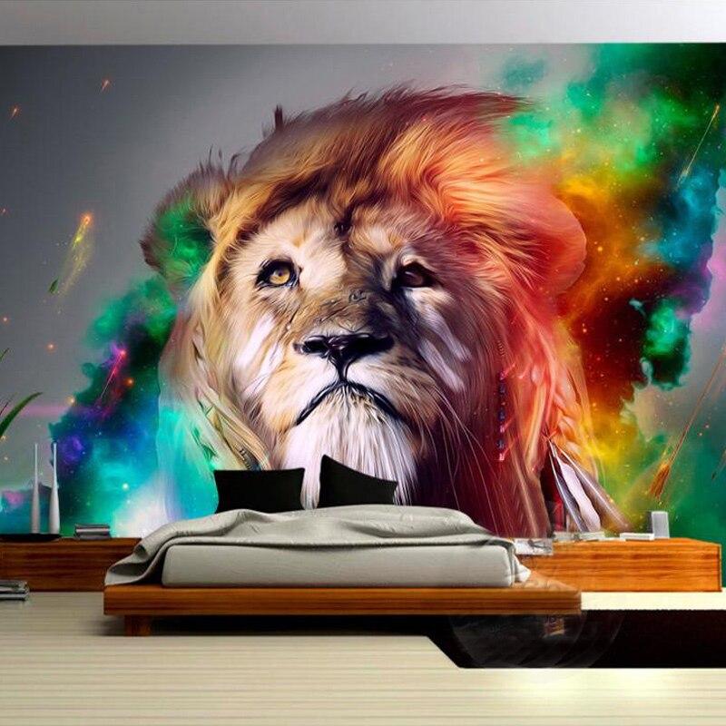 Custom Poster Mural Modern Design Colorful Lion Wallpaper