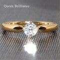 Queen Brilliance 9 К Белое Золото Лаборатория Grown Муассанит Алмазов 0.5Ct F Цвета Круглой Бриллиантовой Огранки Никогда Не Увядает женская Кольцо