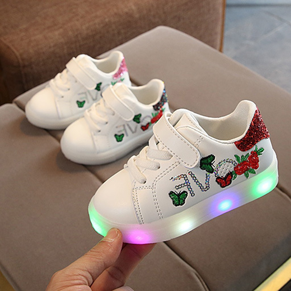 Children Baby Sandals Summer Casual Sneakers Children Babygirls Boys Squeins Flower Butterfly Led Light Luminous Sport Shoes #5 Be Friendly In Use Sandals & Clogs Mother & Kids