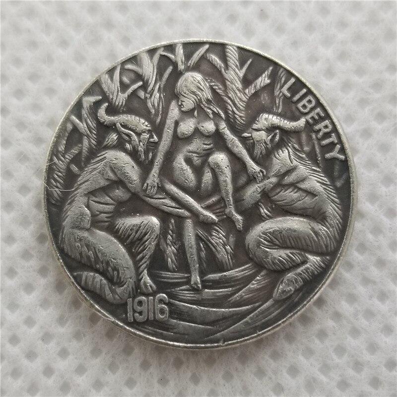 Hobo Coin_Type # 39_1916-D Níquel BUFFALO NÍQUEL COIN COPY FRETE GRÁTIS