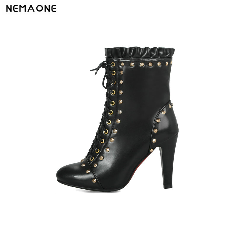 NEMAONE Women 10cm high heels Ankle Boots Ladies wedding party Boots lace up spring autumn Woman Shoes Plus Size 43 2017 size 32 43 fashion black lace up high heels women boots ankle ladies shoes woman spring autumn chaussure femme 33 34 white