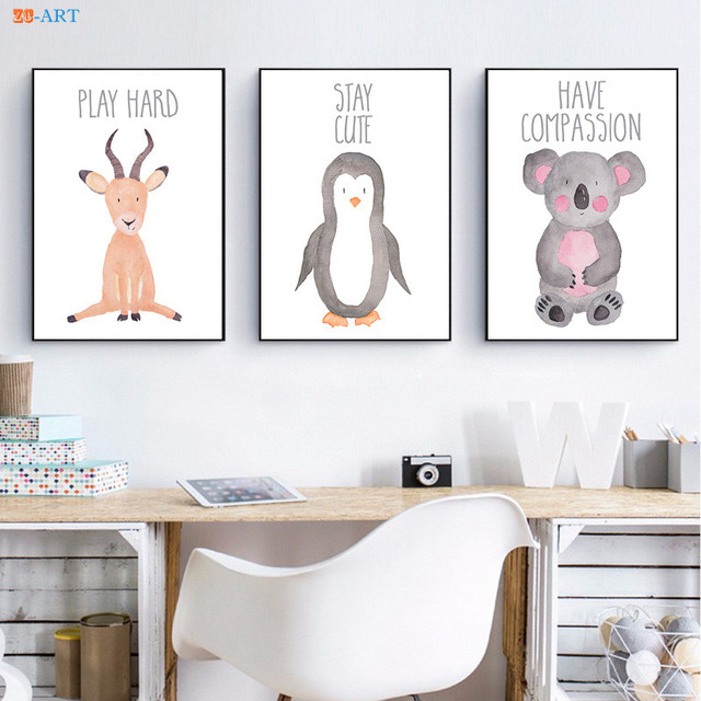Cartoon Canvas Painting Nursery Art Penguin Antelope Koala Pritns Baby Animal Poster Wall Framed