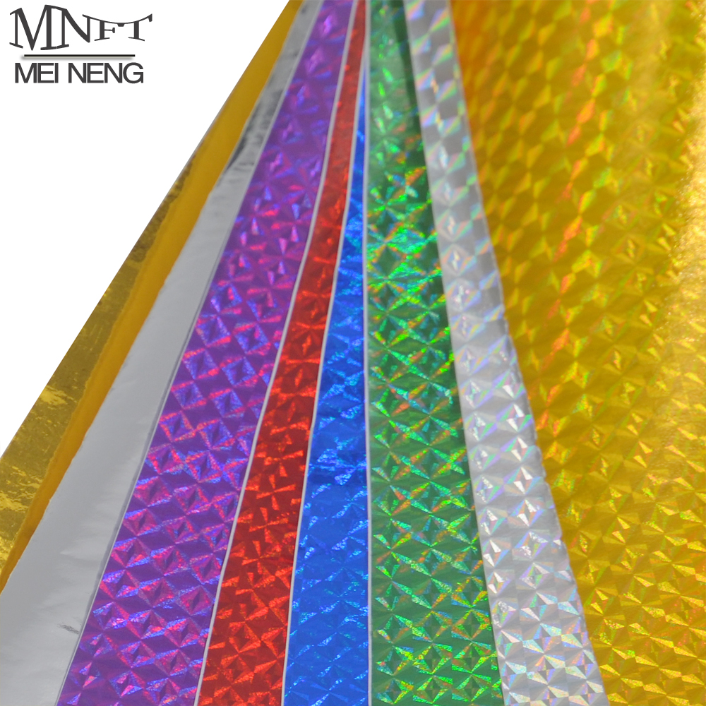 MNFT 6pcs 10*20cm Holographic Adhesive Film Flash Tape For Lure Making Fly Tying Materail Metal Hard Baits Change Color Sticker