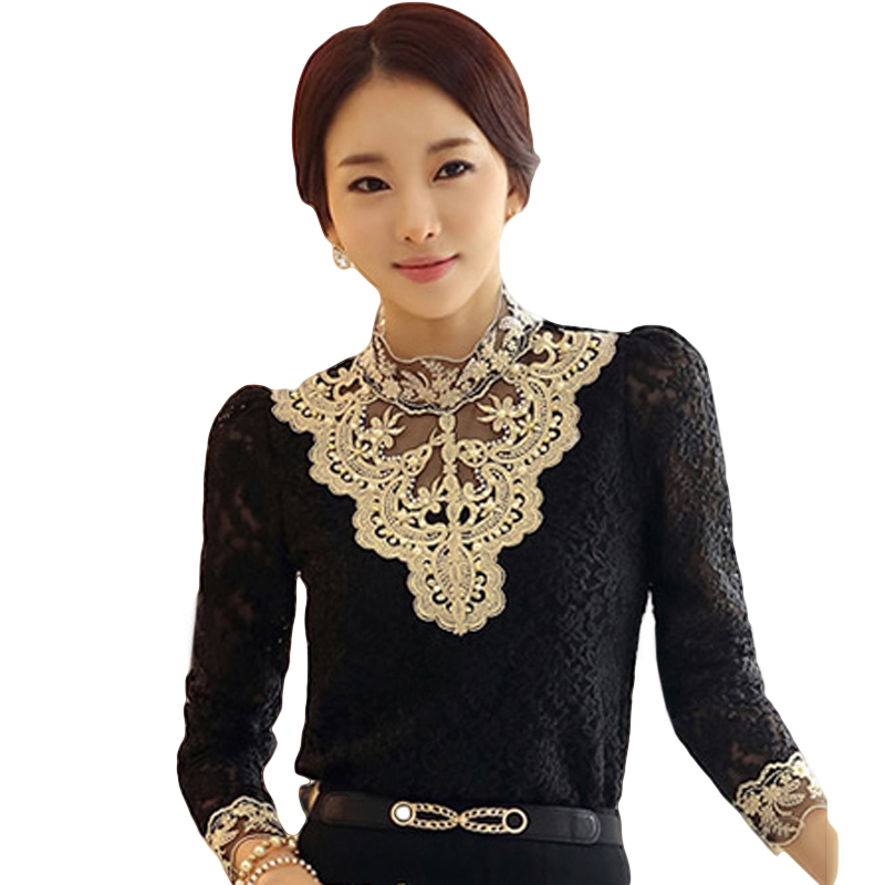 FancyQube Women Large Size 2XL Slim Elegant Lace Bottoming Shirt Long Sleeve Casual Chiffon Hollow Out Ladies Popular Tops Shirt
