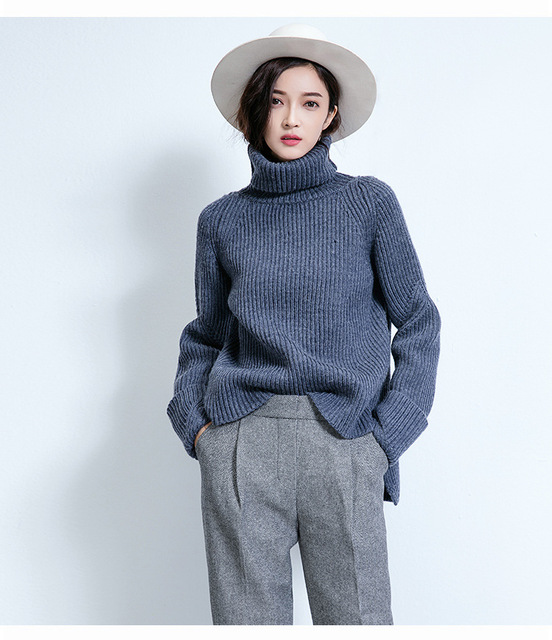 8a592451ef Women Extra Long Sleeve Sweaters Turtleneck Short Jumpers Femme Grey blue Woolen  Knit Pullover Basic knit