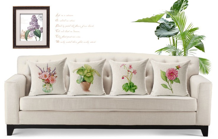 Flowerpot Plant Green Seed Bonsai Vase Hand Painted Pillows Emoji Euro Home  Decor Pillow Environment Enhance