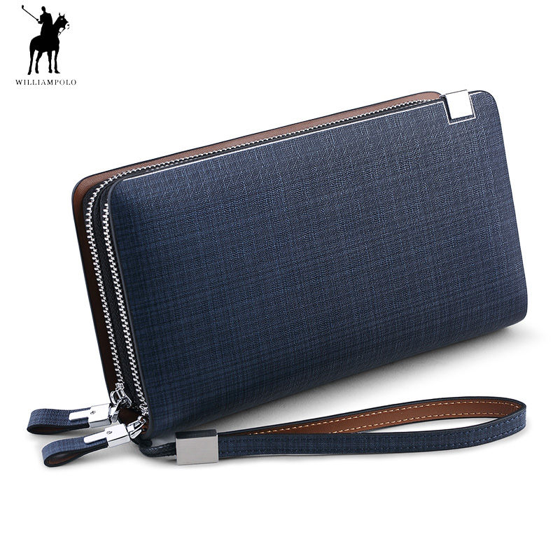 2018 Fashion New Arrival 100% Cow Leather Business Solid Zipper Long Mens Clutch Wallet Male Handbag Wallet polo238 2018 new mens long wallet 100