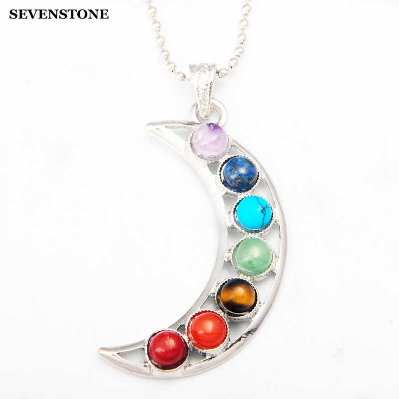 SEVENSTONE Jewelry Moon Shape 7 Chakra Stones Pendant Necklace Natural Stone Pendants Reiki Healing Crystal Necklaces for Women