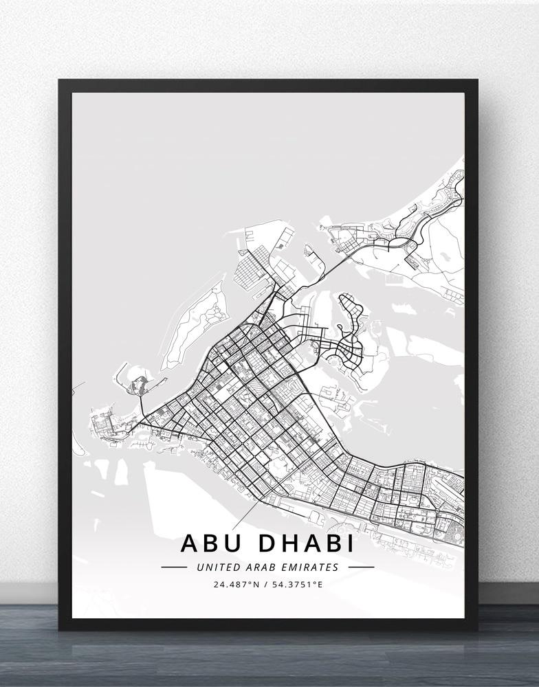 Get This Abu Dhabi Dubai Sharjah UAE Map Poster