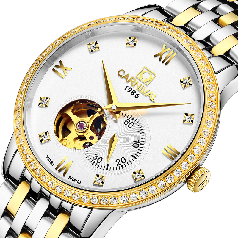 Carnival Watch Men Hollow Automatic Mechanical Luminous Gold Stainless Steel Waterproof White Dial Watches купить недорого в Москве
