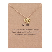 XUSHUI Золотой Цвет Желание любовь сердца Ожерелья и Кулоны Ювелирные Изделия золото Ключицы Кости Кулон Ожерелье Женщины